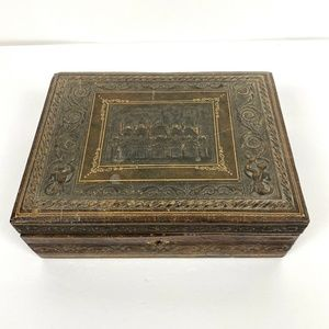 Antique The Vatican Italy Leather Embossed Box